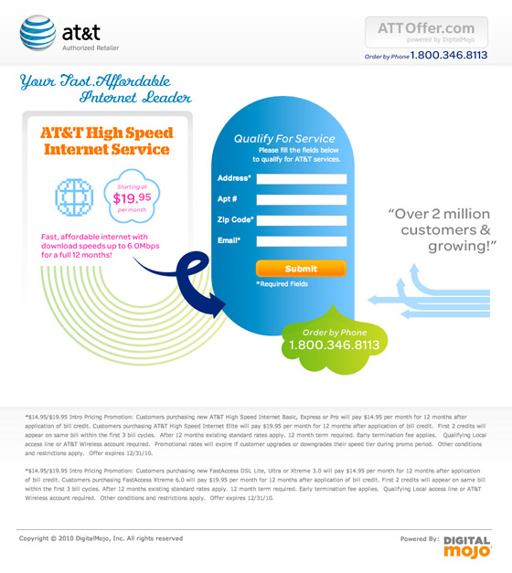 AT & T landing page