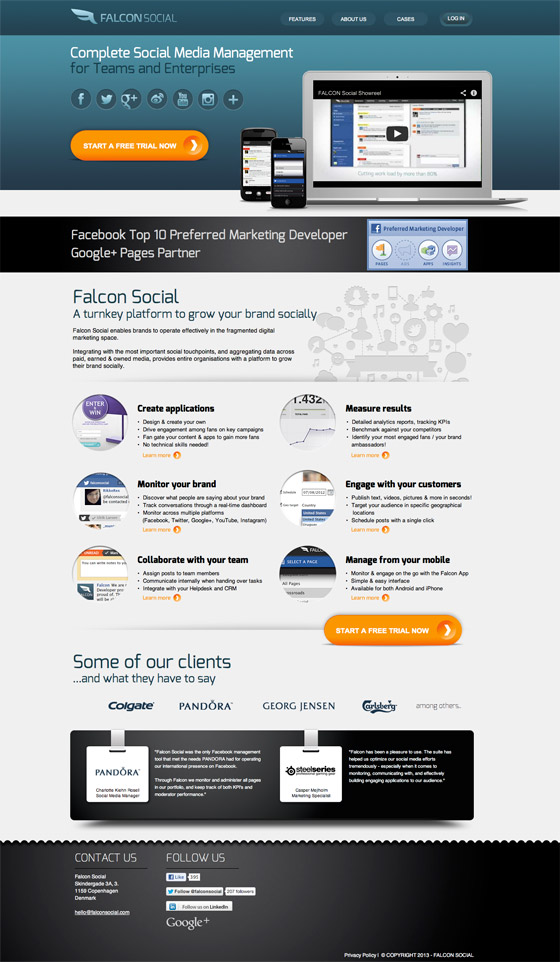 falcon social landing page example