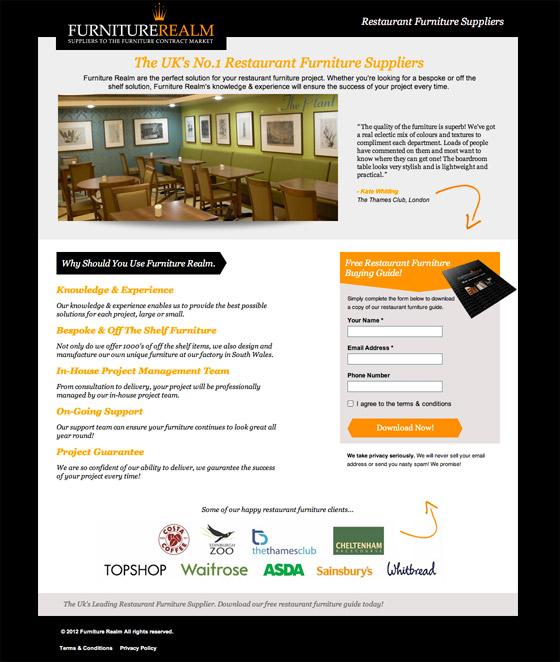 furniture realm landing page design