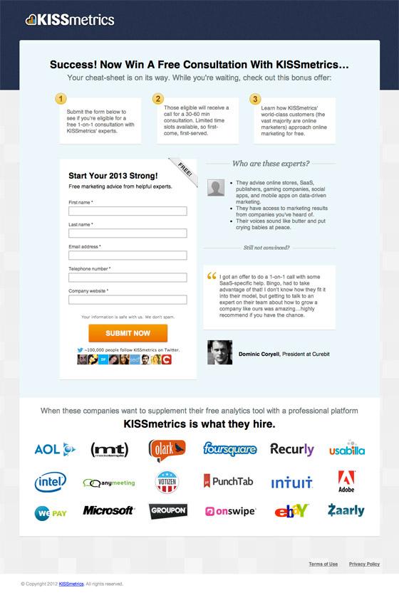 KISSmetrics confirmation page