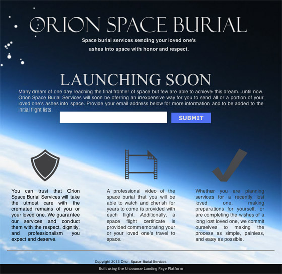 orion space burial landing page