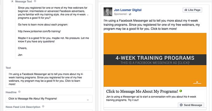 Facebook Messenger Destination Example