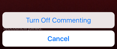 Click the three dots icon to turn off commenting for your live broadcast.