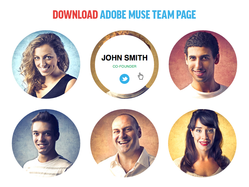 Adobe Muse Team Page Template