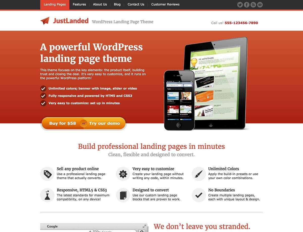justlanded-WordPress-десантно-страниц темы