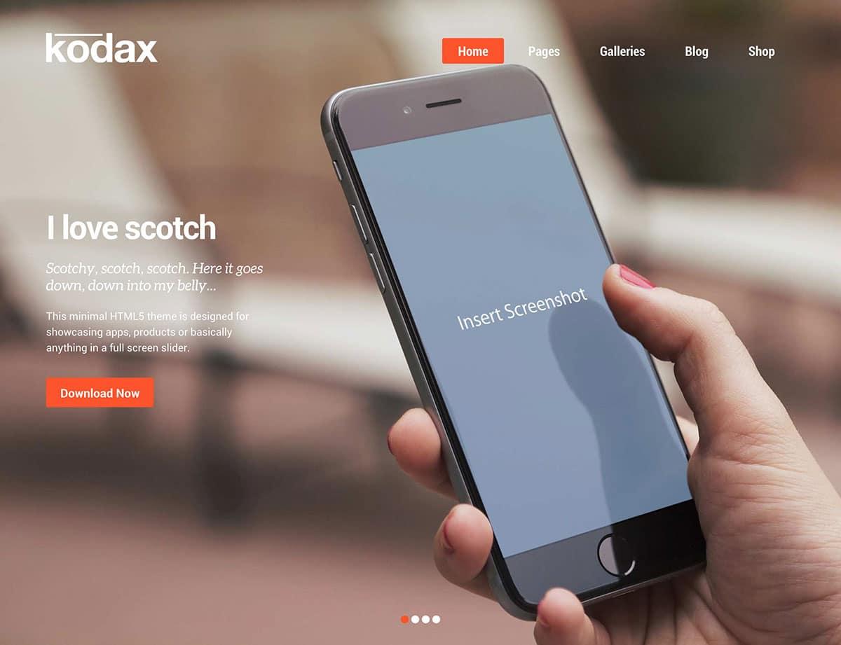 kodax-десантно-страниц WordPress-тема