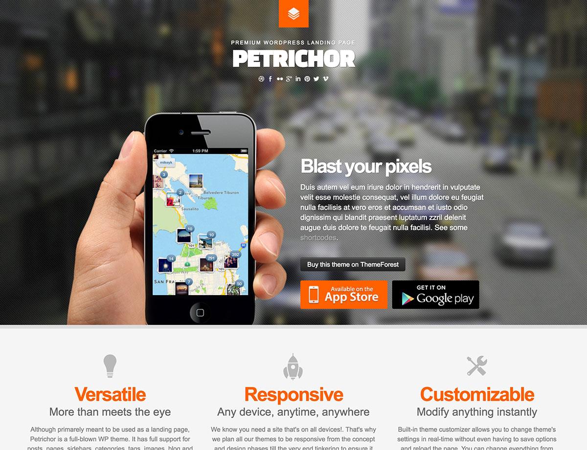 Petrichor-WordPress-десантно-страниц темы