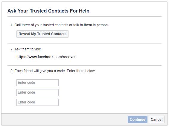 Как восстановить свою учетную запись Facebook, когда вы больше не можете войти в систему Facebook доверенные контакты