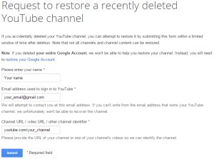 Восстановить форму YouTube