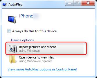 Передача видео с iPhone 6 / 6s на компьютер с помощью AutoPlay