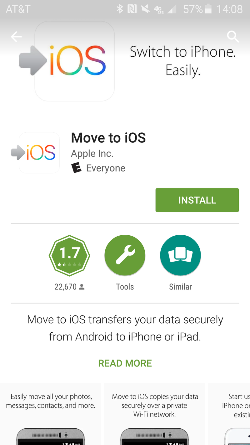 Google Play listing for the Move to iOS app