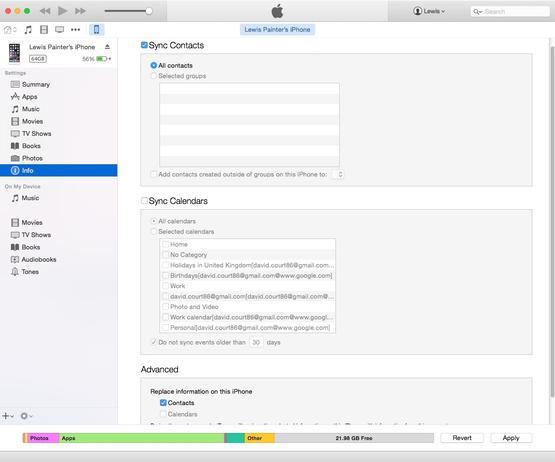 Передача контактов с помощью iTunes
