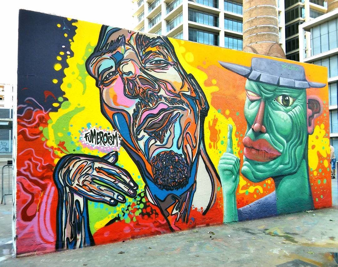 Collaboration with @sebastienwaknine and portrait of @sebastienwaknine located at  Av. del Parallel, 49 #tresximeneies #barcelona #espana #Fumero #goingglobal #fumeroizing #barcelonastreetart #spain_gallery #spainstreetart #fumeroism #anatomicalgrafstraction #thegrafstract #grafstract #spain #fumeroized #spain #streetart #nycstreetart in #barcelonaspain #globalstreetart #contemporary #contemporayart #mural #urbanart @sourmatt
