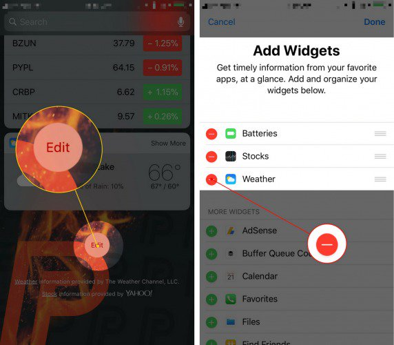 remove widgets on iphone
