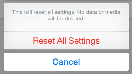 reset all settings