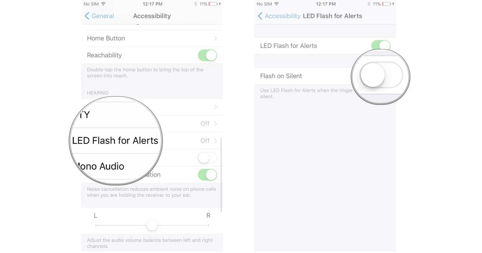 Tap LED Flash for Alerts, tap the switch next to Flash on Silent