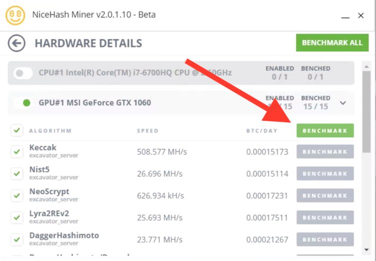 Before you can start mining, Nicehash has to check how quickly your gear can mine.