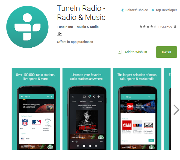 Бесплатное приложение для радиопотока TuneIn