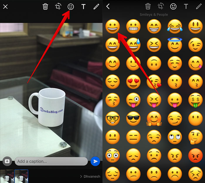 Add-Emoji-on-Photo-or-Video-in-WhatsApp-on-iPhone